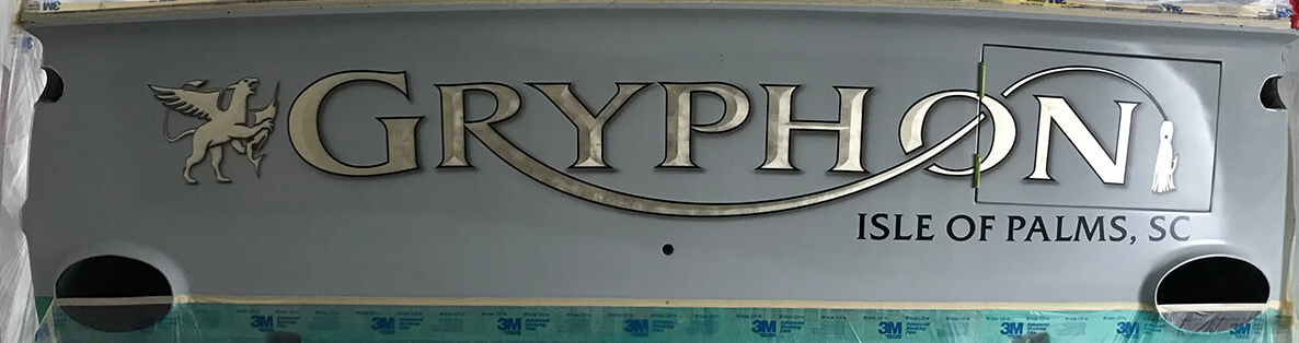 Gryphon-Isle-of-Palms-South-Carolina-Boat-Transom-straight-view-vessel-name-typography